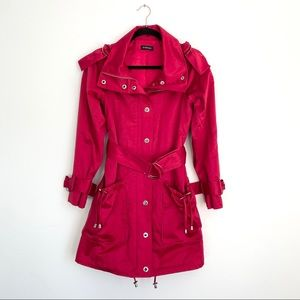 bebe | Hot Pink Trench Coat w/ Silver Hardware